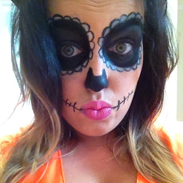 sugar skull doll face paint girl