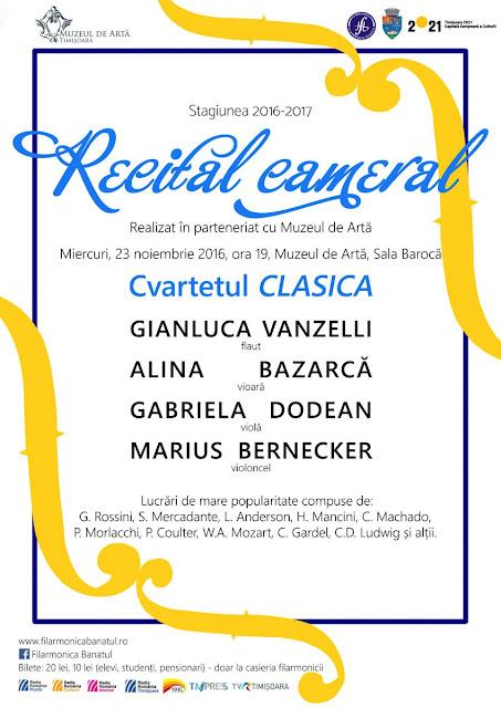 Recital Cameral la Sala Baroca Timisoara - 23 noiembrie 2016