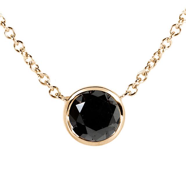 "Black Diamond Solitaire 1 Carat Round Bezel Necklace in 14K Gold (16"" Chain)"