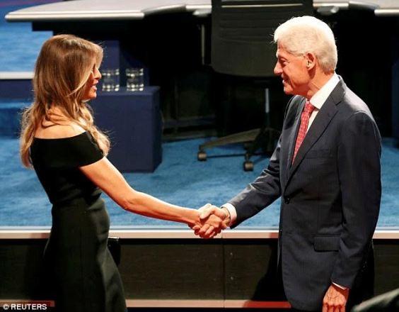 The moment future U.S First Gentle man Bill Clinton meets first lady Melanie Trump (photos)