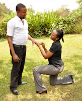 Woman Proposing Marriage to Man