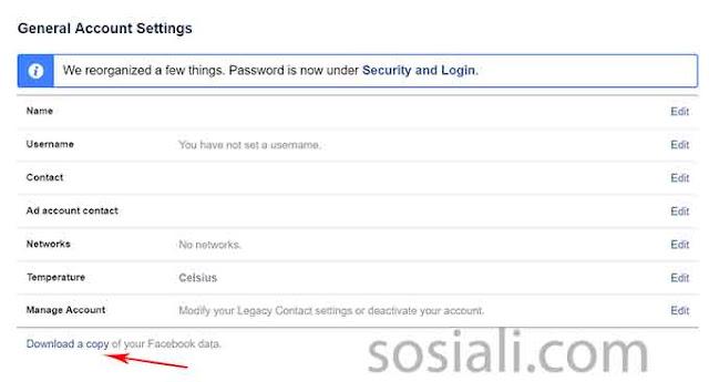 DOwnload personal data untuk mengetahui email facebook