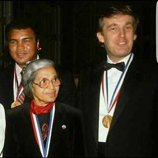 Trump stand next to civil rights icon Rosa Parks