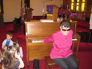 Laurel playing backwards at Riverton, IL First UMC