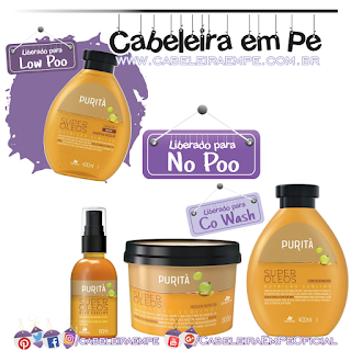 Shampoo (Low Poo), Condicionador, Máscara e Óleo (Liberados para No Poo) Super Óleos - Purità