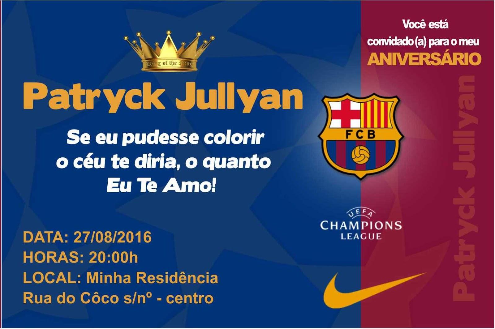 Joerk Design Grafico Convite De Aniversario Barcelona Conceição