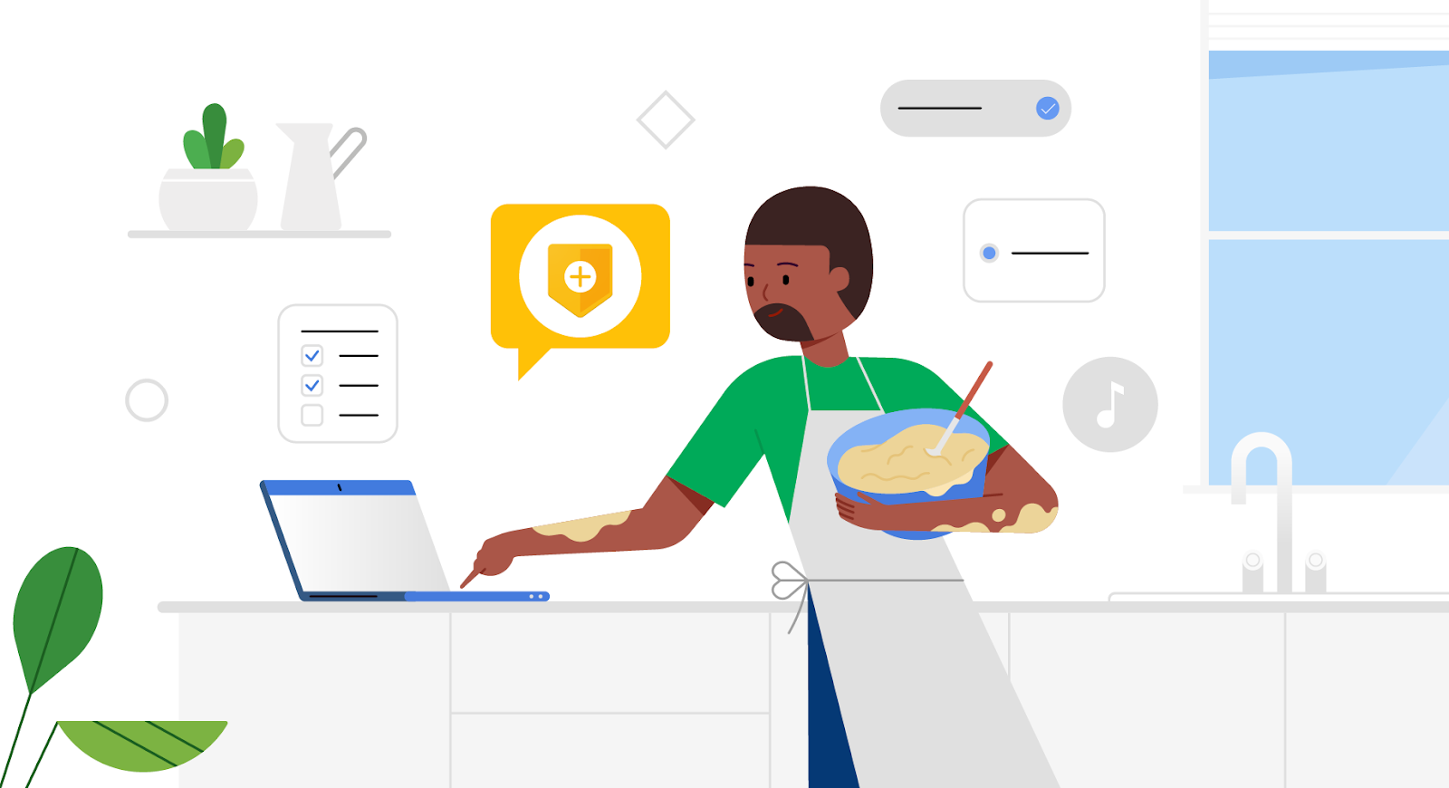 Hero image of animated man looking at website to cook