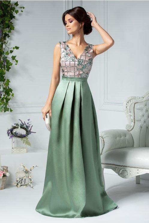 Rochie eleganta lunga de seara vernil si rose cu broderie si paiete