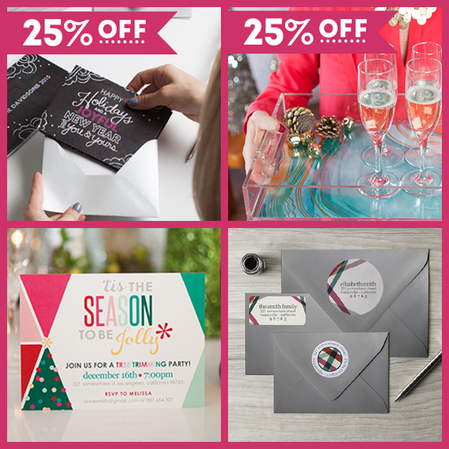 25% off holiday cards, invitations, return address labels, & acrylic trays and inserts at Erin Condren thru 11/15/15!!