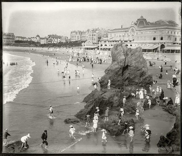 Biarritz, la Grande Plage (1904) Pays Basque, mer, voyage, vacances
