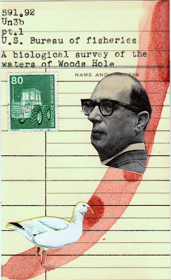 library card tractor postage stamp goose bird vintage black and white male portrait photo Dada Fluxus mail art collage