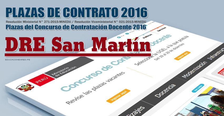 DRE San Martín: Plazas Vacantes Contrato Docente 2016 (.PDF) www.dresanmartin.gob.pe