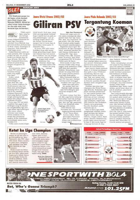JUARA DIVISI UTAMA 2002/03 GILIRAN PSV