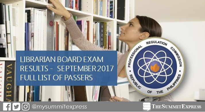 FULL RESULTS: September 2017 Librarian board exam passers list, top 10