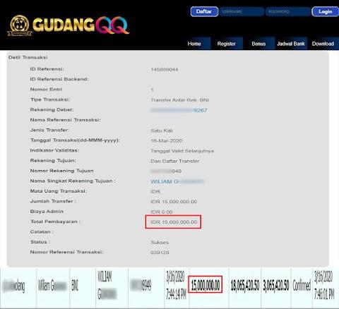 Selamat Kepada Member Setia GudangQQ WD sebesar Rp. 15,000,000.-