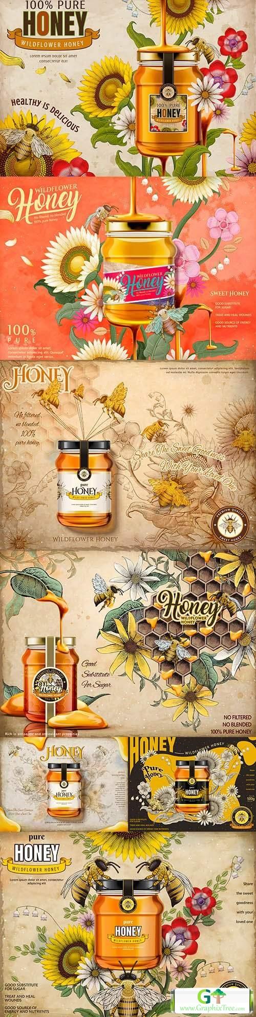 Advertising tasty honey from field flowers in glass jar illustration