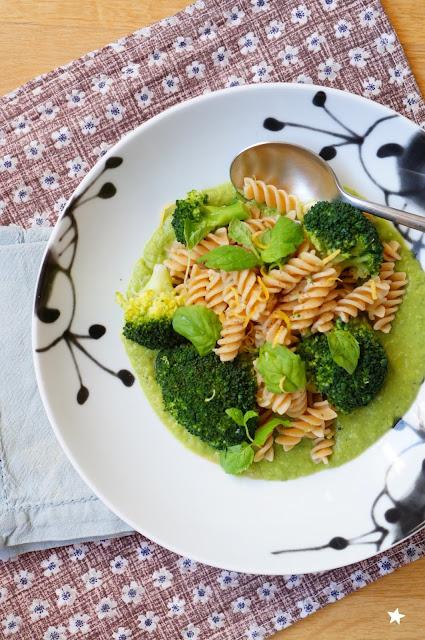 pâtes brocolis petits pois menthe vegan sans lactose