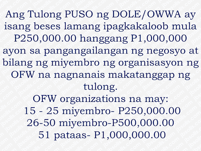 This is filed under the category of owwa pangkabuhayan loan, owwa benefits loan, owwa cash assistance, owwa office, ofw loan owwa, owwa membership benefits, owwa business program for ofw, ofw loan in owwa, owwa cash loan,  The Overseas Workers Welfare Administration (OWWA)has welcomed the P300-million budget allocated by the Department of Labor and Employment (DOLE) for a livelihood program that is expected to benefit returning overseas Filipino workers (OFW).  DOLE, headed by Secretary Silvestre Bello III, has allocated P300 million as a livelihood support for OFW organizations through OWWA's Tulong Pangkabuhayan sa Pag-unlad ng Samahang OFWs (Tulong Puso) program. Advertisement        Sponsored Links        It is a mechanism of DOLE-OWWA to urge OFW organizations or groups to put up new livelihood programs or businesses. Together with their partners like the Department of Trade and Industry (DTI) and Department of Agriculture (DA), they will conduct enterprise development training and other social preparation intervention to equip OFW groups all the vital skills and trainings to ensure high success rates of whatever project they want to start. Any interested DOLE, CDA  accredited or SEC-registered OFW groups may submit their project proposal together with the required documents at any of the 17 OWWA Regional Welfare Offices for evaluation.  *For the complete list of the needed requirements, click here.  DOLE believe that the Tulong PUSO program could convince the OFW organizations to start a productive endeavor for the good of every OFWs and their family as the community benefit as well.   This is filed under the category of owwa pangkabuhayan loan, owwa benefits loan, owwa cash assistance, owwa office, ofw loan owwa, owwa membership benefits, owwa business program for ofw, ofw loan in owwa, owwa cash loan, READ MORE:  Find Out Which Country Has The Fastest Internet Speed Using This Interactive Map     Find Out Which Is The Best Broadband Connection In The Philippines   Best Free Video Calling/Messaging Apps Of 2018    Modern Immigration Electronic Gates Now At NAIA    ASEAN Promotes People Mobility Across The Region    You Too Can Earn As Much As P131K From SSS Flexi Fund Investment    Survey: 8 Out of 10 OFWS Are Not Saving Their Money For Retirement    Can A Virgin Birth Be Possible At This Millennial Age?    Dubai OFW Lost His Dreams To A Scammer    Support And Protection Of The OFWs, Still PRRD's Priority