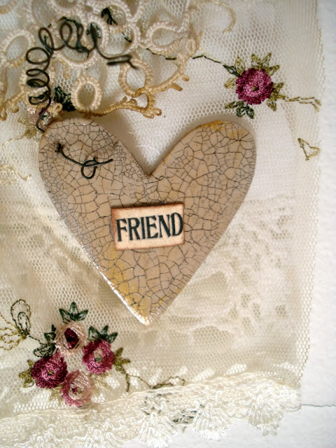 mixed media heart by Dorthe of Den Lille Lade
