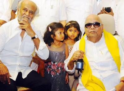 karunanidhi-rajnikant-Arulnidhi Marriage-reception