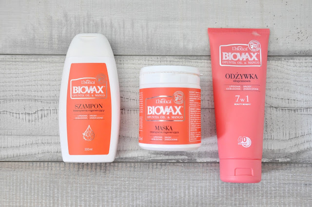 szampon, odżywka i maska l'biotica biovax opuntia oil & mango