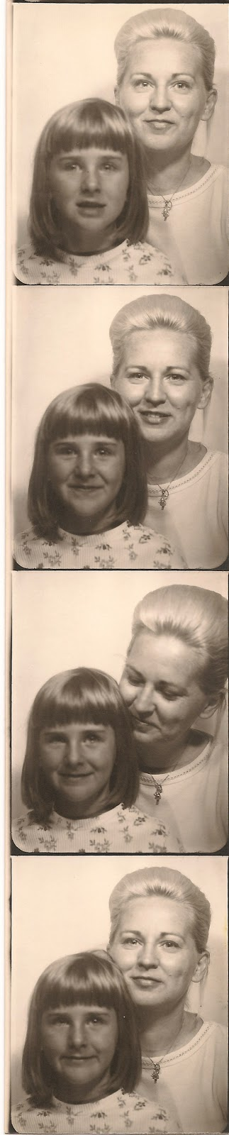 Photo booth film strip. Mary E. (Dixon) Traina and her daughter, Liz. Mid-1960's. Photo identified by and in the collection of E. Ackermann.