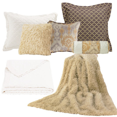 Casablanca Euro sham, neckroll and accent pillow, sheep faux fur pillow and throw, vintage white linen quilt and pillow sham