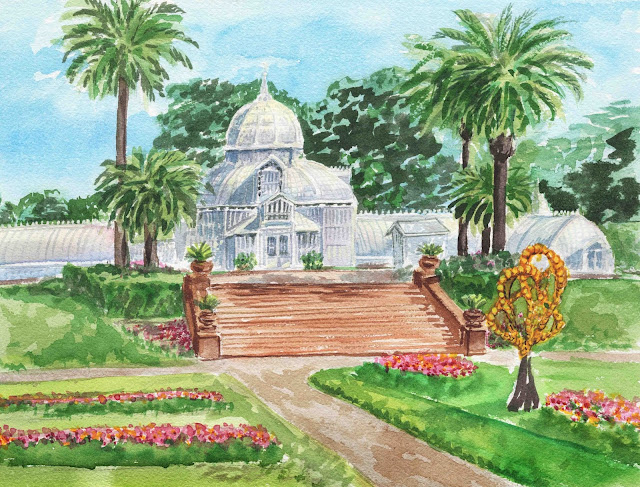 Artist Irina Sztukowski paints Watercolor Painting of San Francisco Conservatory Of Flowers in Golden Gate Park