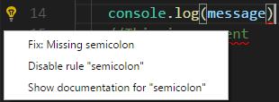 visual studio code typescript lint