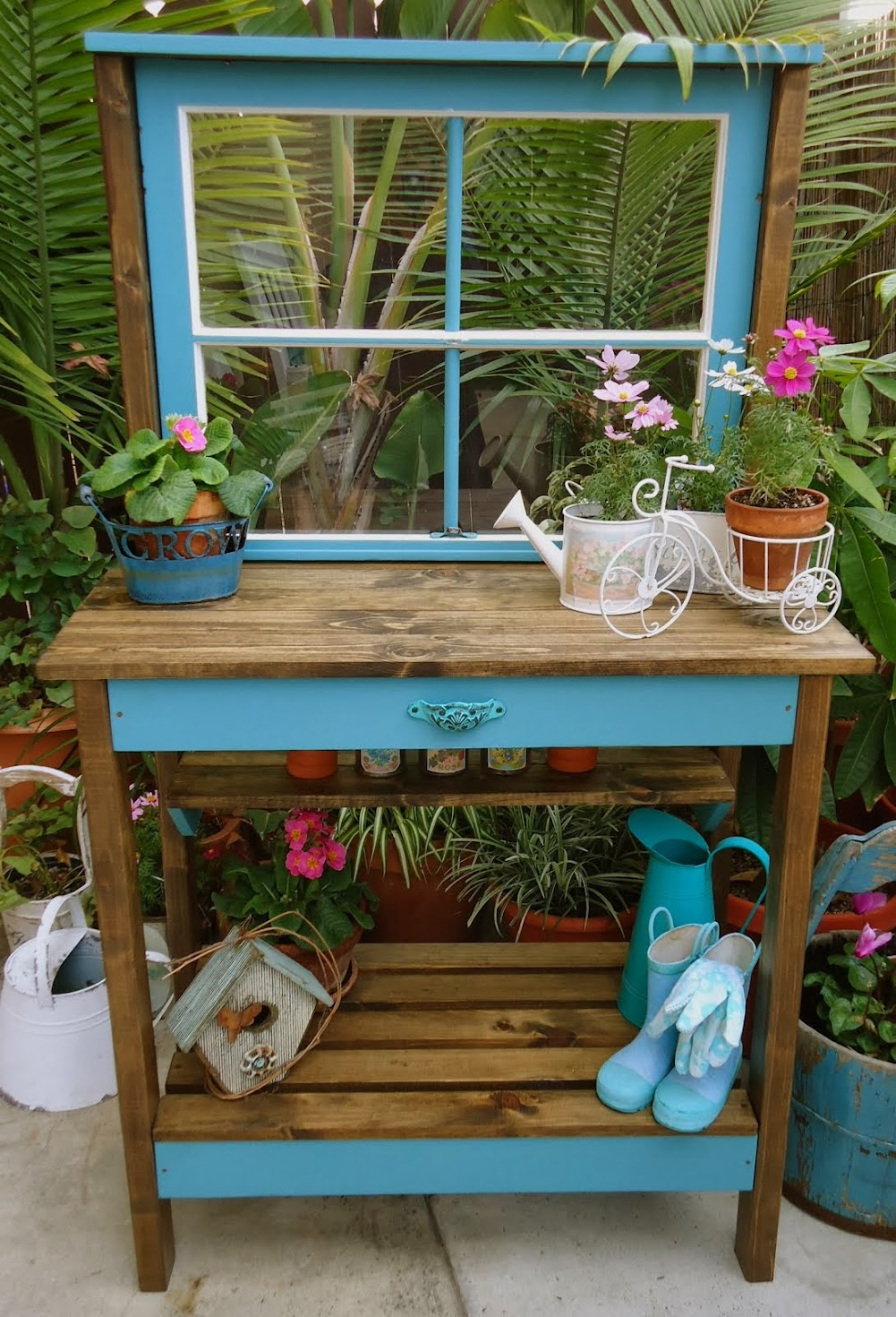 Vintage WIndow Potting Bench - SOLD