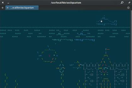 Aquarium di Terminal Linux dengan ASCIIquarium