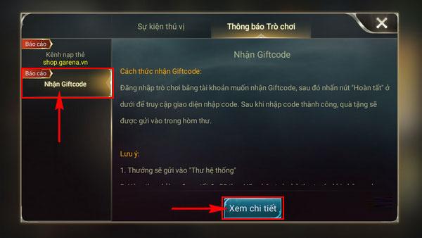 Cách dùng Gift Code Liên Quân Mobile