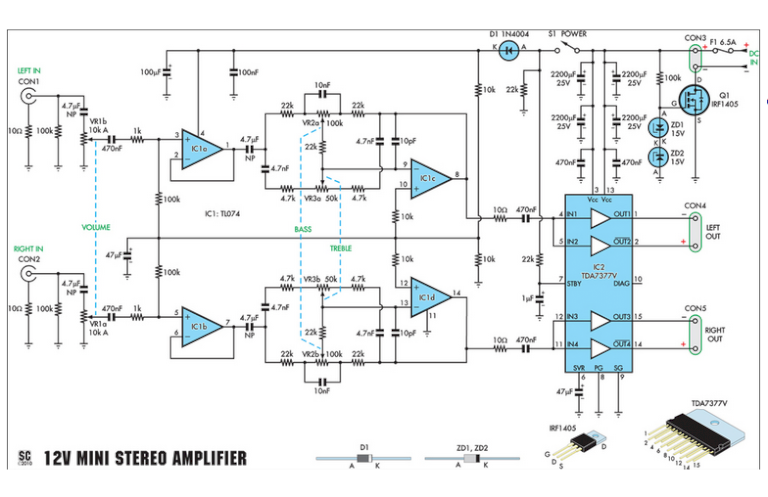 Compact High-Performance 12V 20W Stereo Amplifier HP