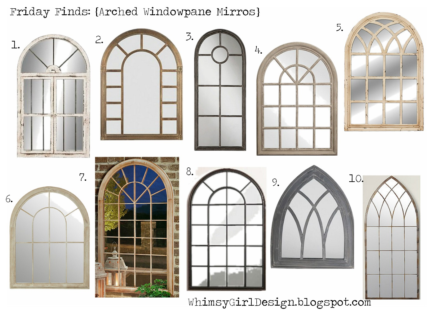 Whimsy girl friday finds arch windowpane mirrors for Arch window decoration