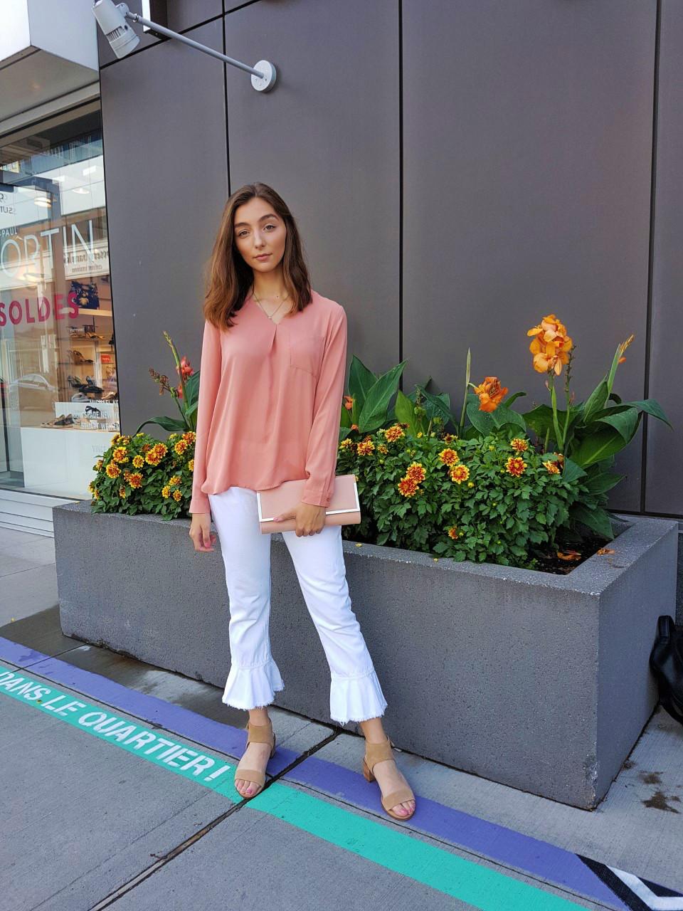 vero moda, zara, Aldo, fashion, trends, white denim, ruffles, summer, style, street style, Montreal, Canada, blogger