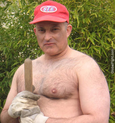 hairy backyard daddy - shirtless dad