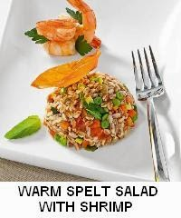 WARM SPELT SALAD WITH SHRIMP