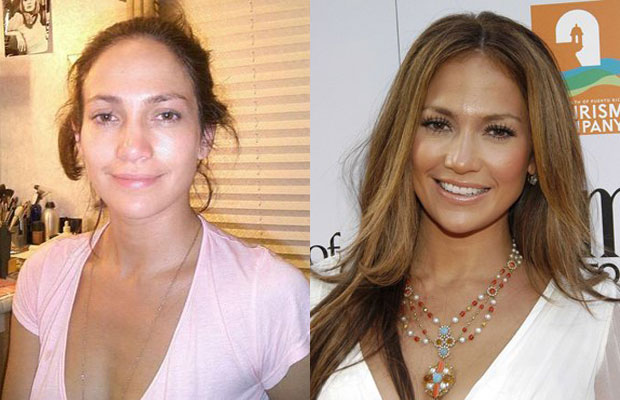 Jennifer Lopez with n without makeup