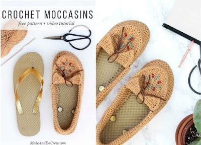 Mocasines indios a crochet con suelas flip flop