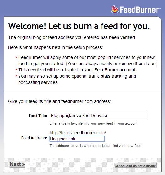 blogger feedburner kurulumu