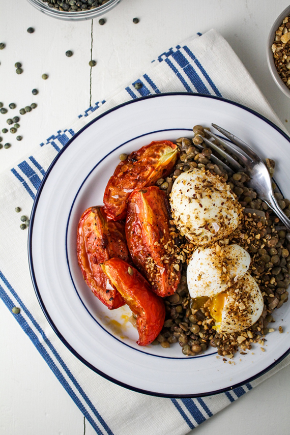 Lentils, Roasted Tomatoes, and Dukka-Crumbed Eggs recipe via Katie at the Kitchen Door