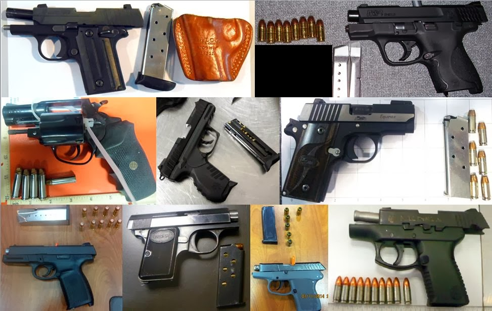 Left to Right - Top to Bottom: Guns Discovered At HOU, JAX, TLH, SBN, ROC, ATL, AUS, ATL, FLL