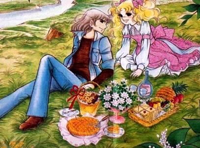 Dibujo de Candy sentada junto a Terry en el campo
