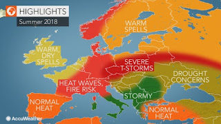 High fire risk as heat waves bake France to Germany and northern Italy (Credit: AccuWeather) Click to Enlarge.