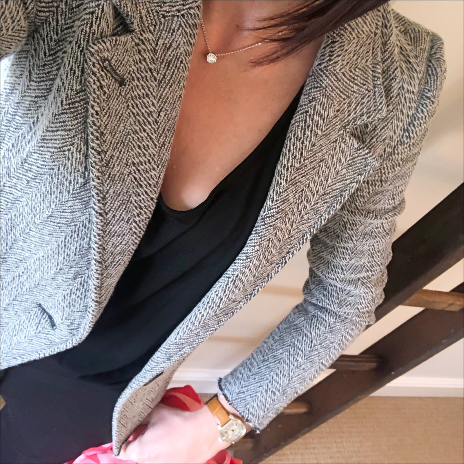 my midlife fashion, isabel marant etoile tweed jacket, splendid scoop neck batwing top, j crew cropped kick flare trousers, stella mccartney star silk scarf, j crew suede pointed tassel flat shoes