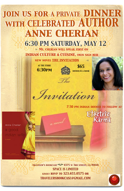 Indian Cuisine & Culture night: Dinner with Celebrated Author Anne Cherian