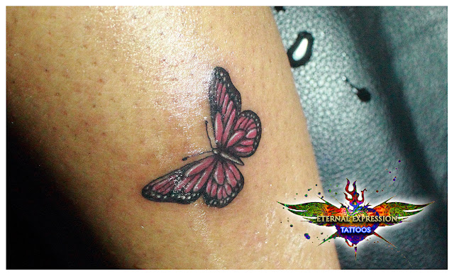 Pink Crystal   Butterfly Tattoo Bangalore