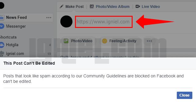 Cara Mengatasi Blog Yang Ditandai Spam Oleh Facebook
