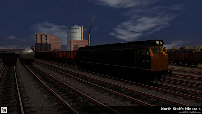Fastline Simulation - North Staffs Minerals: 9T14 waits the road in Cockshute before departing with the first empties of the day to BIS Oakamoor. North Staffs Minerals, a route for RailWorks Train Simulator 2012.