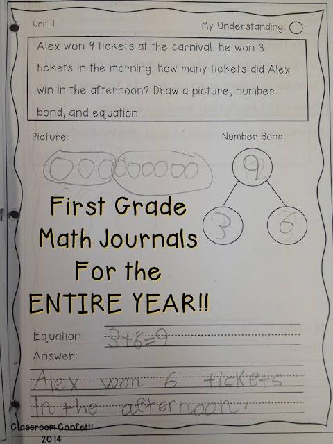 First Grade Math Journal through the Year! - Classroom Confetti